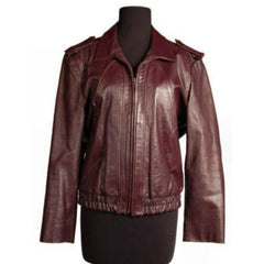 Vintage Purple Leather Bomber Jacket Unisex Casablanca Size 44 - The Best Vintage Clothing  - 1