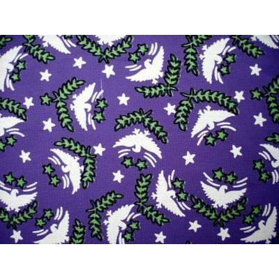 Vintage Rayon Screen-Printed Sample 1930'S-1940'S Purple Birds 5 x11 - The Best Vintage Clothing