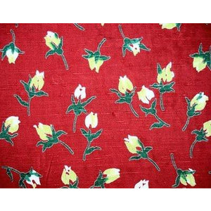 Vintage Rayon Screen-Printed Sample 1940'S #28 Red Rose - The Best Vintage Clothing