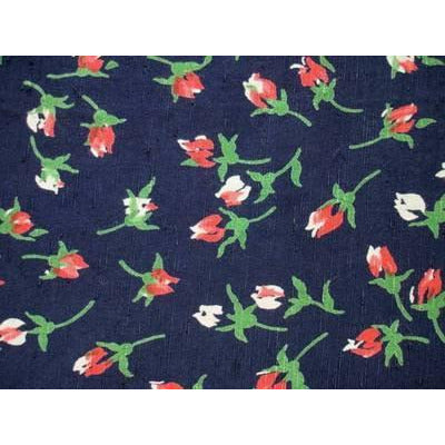 Vintage Rayon Screen-Printed Sample 1940S Rosebud #60 - The Best Vintage Clothing