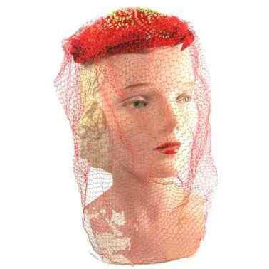 Vintage Red Embroidered Hat Gorgeous Long Net 1940s - The Best Vintage Clothing  - 1