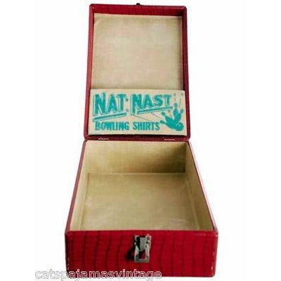 Vintage Red Faux Alligator Nat Nast Bowling Shirt Display Box 1950s - The Best Vintage Clothing  - 1