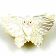 Vintage Carved  Mother of Pearl Moth Brooch w/Red Eyes 1920'S - The Best Vintage Clothing  - 1