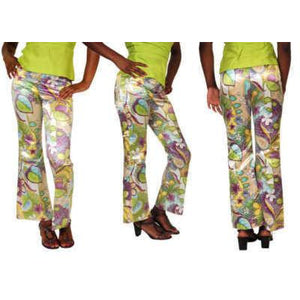 Vintage Satin Mod Floral Tight Pants W/Silk Top Lime 1970S - The Best Vintage Clothing  - 1