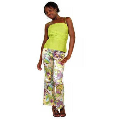 Vintage Satin Mod Floral Tight Pants W/Silk Top Lime 1970S - The Best Vintage Clothing  - 2