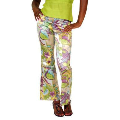 Vintage Satin Mod Floral Tight Pants W/Silk Top Lime 1970S - The Best Vintage Clothing  - 4