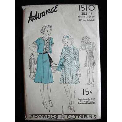 Vintage Sewing Pattern Advance #1510 Girls Dress With Bolero - The Best Vintage Clothing