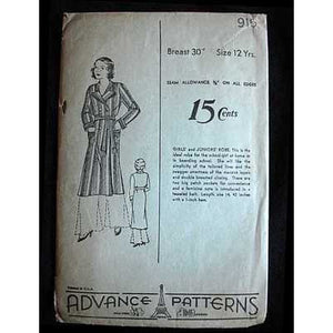 Vintage Sewing Pattern Advance #915 Girls' Robe 1930S - The Best Vintage Clothing