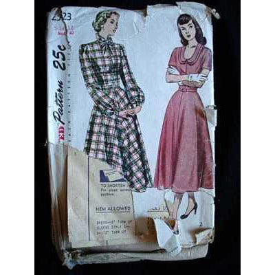 Vintage Sewing Pattern Simplicity #2523 Dress 1940S Small - The Best Vintage Clothing