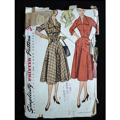 Vintage Sewing Pattern Simplicity #3691 Dress Gig Collar 1940S - The Best Vintage Clothing