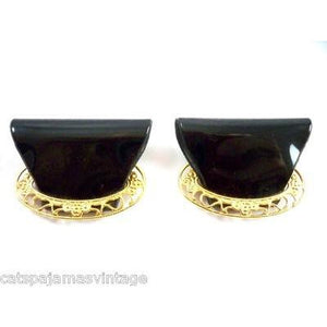 Vintage Shoe Clips Black Patent Vinyl & Gold Filigree 1960s - The Best Vintage Clothing  - 1