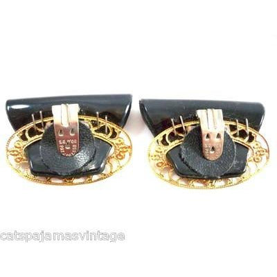 Vintage Shoe Clips Black Patent Vinyl & Gold Filigree 1960s - The Best Vintage Clothing  - 2