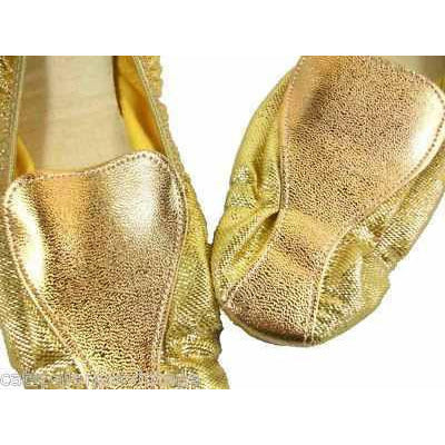 Vintage Shoes Fun Gold Metallic Flats Square Toe  Size 7-71/2 1950'S - The Best Vintage Clothing  - 3