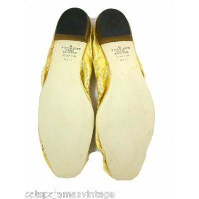 Vintage Shoes Fun Gold Metallic Flats Square Toe  Size 7-71/2 1950'S - The Best Vintage Clothing  - 4