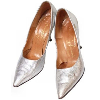Vintage Shoes Silver Leather Stiletto Heels Tiny Ackerman 1950S 7.5