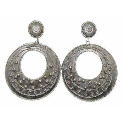 Vintage Silver Tone Circle Pierced Earrings Ultra 1980S - The Best Vintage Clothing  - 2