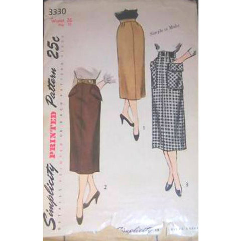 Vintage Simplicity Sewing  Pattern #3330 Pencil Skirt 1960S - The Best Vintage Clothing