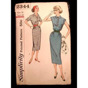 Vintage Simplicity Sewing  Pattern 2344 Miss Dress Sz 14 1950S - The Best Vintage Clothing