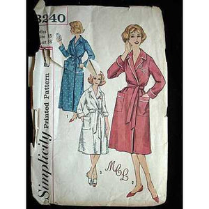 Vintage Simplicity Sewing Pattern Robe  #3240 Misses 18 1960'S - The Best Vintage Clothing