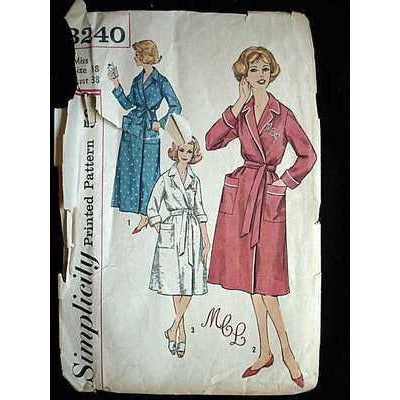 Vintage Simplicity Sewing Pattern Robe  #3240 Misses 18 1960'S