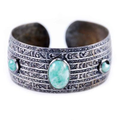 Vintage Southwestern Silver Plate Cuff Bracelet Faux Turquoise 1940S