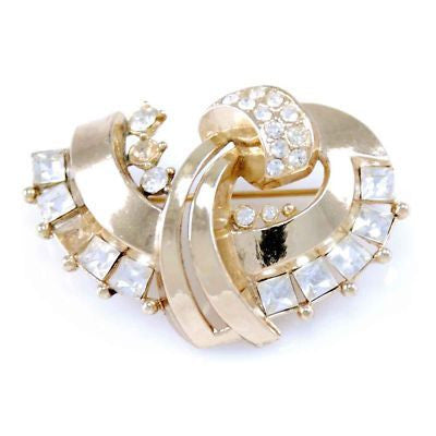 Vintage Stylized Rhinestone Bow Brooch 1930'S - The Best Vintage Clothing  - 1