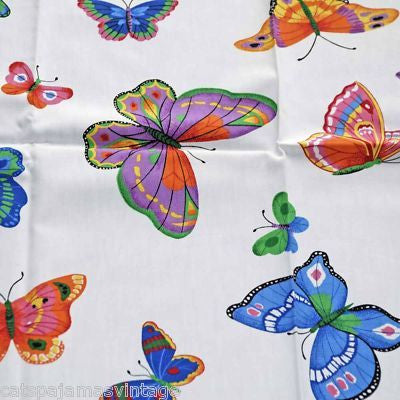 "Vintage Textile Yardage Fabric Cranston Print Works Butterflies 44""W x 68""L - The Best Vintage Clothing  - 1"