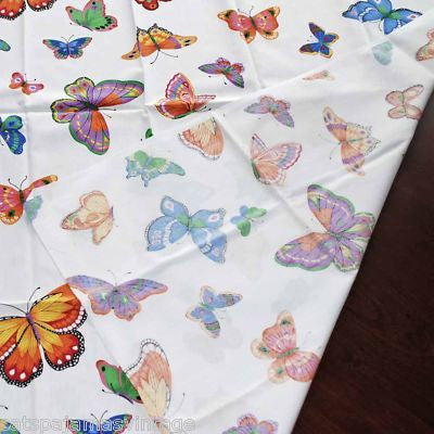 "Vintage Textile Yardage Fabric Cranston Print Works Butterflies 44""W x 68""L - The Best Vintage Clothing  - 2"
