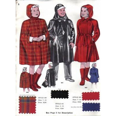 Vintage Ward Stilson Rain-Wear Ad 1940S W/ Fabric Swatches 7PG - The Best Vintage Clothing