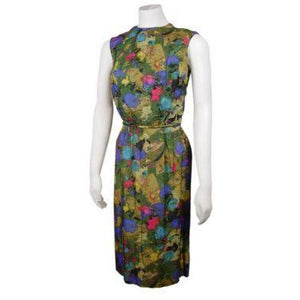 Vintage Watercolor Silk Dress Mardi Gras 1950S Rhinestones 38-24-36 - The Best Vintage Clothing  - 1