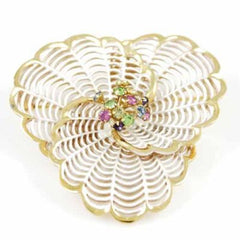 "Vintage White Enamel Spiderweb Brooch 1940'S  2 1/4"" - The Best Vintage Clothing  - 1"