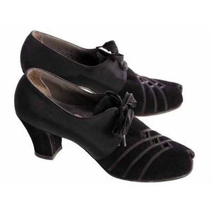 Vintage Womens Shoes Oxfords 1930s Black  Silk/Suede/Peeptoe Sz 7 Orig Box - The Best Vintage Clothing  - 1