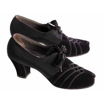 Vintage Womens Shoes Oxfords 1930s Black  Silk/Suede/Peeptoe Sz 7 Orig Box