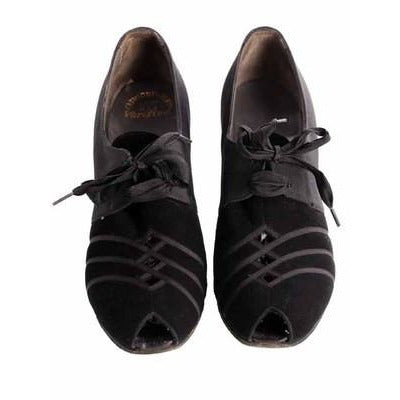 Vintage Womens Shoes Oxfords 1930s Black  Silk/Suede/Peeptoe Sz 7 Orig Box - The Best Vintage Clothing  - 3