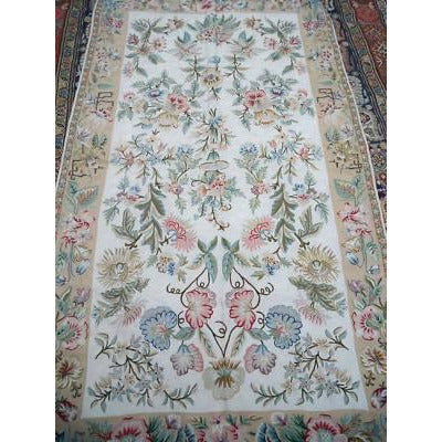 "Vintage Wool Rug Hand  Made Floral 44""X83"" Suffering Moses Srinagar Kashmir 1959 - The Best Vintage Clothing  - 3"