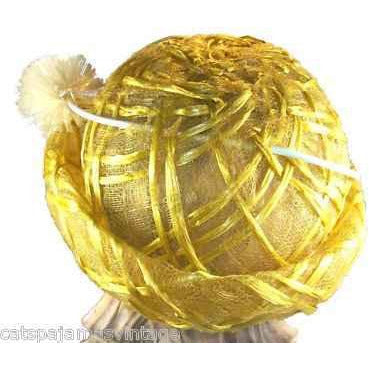 Vintage Yellow Horsehair/ Cellophane Straw Hat 1950'S - The Best Vintage Clothing  - 2