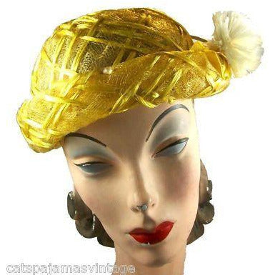 Vintage Yellow Horsehair/ Cellophane Straw Hat 1950'S - The Best Vintage Clothing  - 3