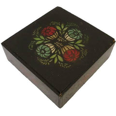 Antique Black / Red & Green  Folk Art Tole Handpainted Painted Wooden Box Primitive - The Best Vintage Clothing  - 1