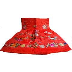 Antique Chinese Robe Part Red Silk Embroidered Wedding Apron - The Best Vintage Clothing  - 5