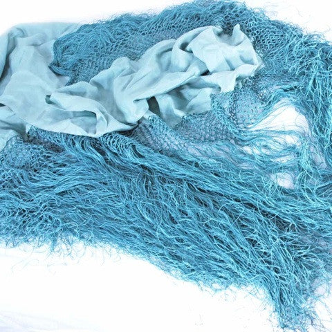 Antique Pale Aqua Silk Shawl Fringe 1920S - The Best Vintage Clothing  - 3