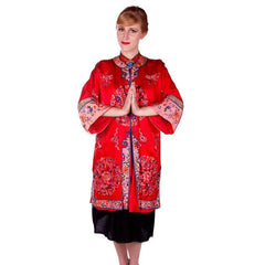 Antique Victorian Chinese Robe Coat Red Silk Embroidered Includes Free Brooch! - The Best Vintage Clothing  - 2