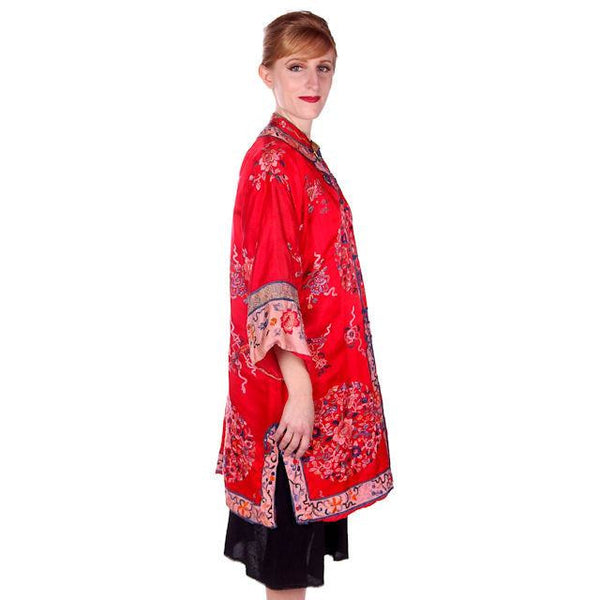 Antique Victorian Chinese Robe Coat Red Silk Embroidered Includes Free Brooch! - The Best Vintage Clothing  - 3