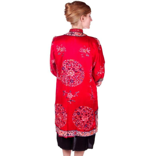 Antique Victorian Chinese Robe Coat Red Silk Embroidered Includes Free Brooch! - The Best Vintage Clothing  - 4