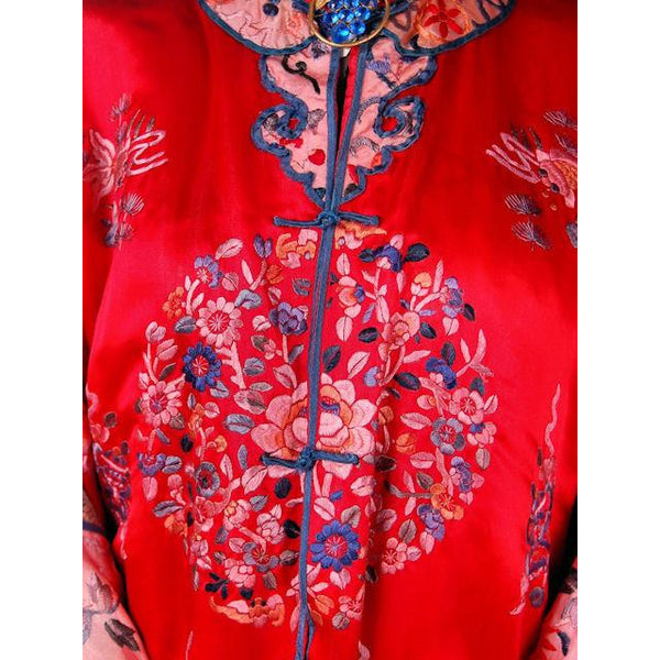 Antique Victorian Chinese Robe Coat Red Silk Embroidered Includes Free Brooch! - The Best Vintage Clothing  - 5
