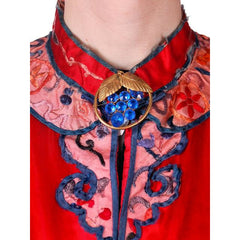 Antique Victorian Chinese Robe Coat Red Silk Embroidered Includes Free Brooch! - The Best Vintage Clothing  - 6