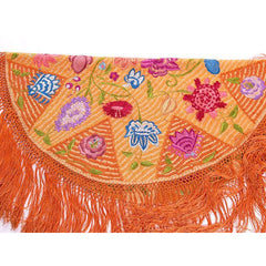 Arts & Crafts Embroidered Silk Tablecover Long Fringe Orange Purples Blue - The Best Vintage Clothing  - 3