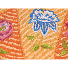 Arts & Crafts Embroidered Silk Tablecover Long Fringe Orange Purples Blue - The Best Vintage Clothing  - 4