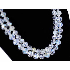 Vintage Aurora Borealis Rock Crystal Necklace Dbl Strand 1950S - The Best Vintage Clothing  - 2