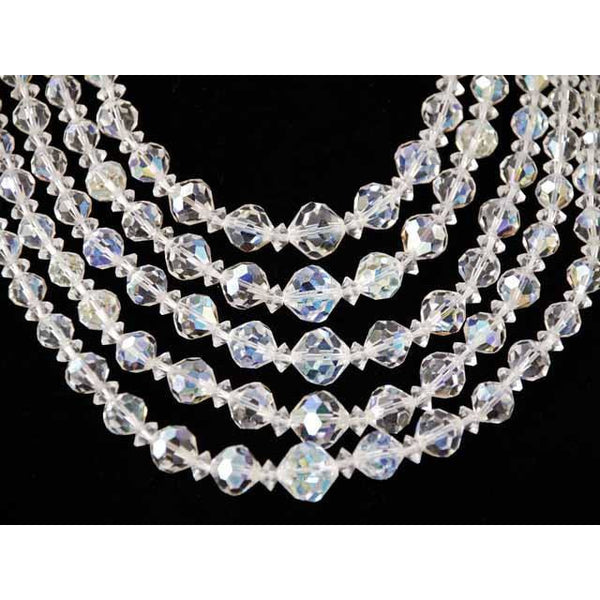 Vintage Aurora Borealis Crystal Necklace Five  Strand 1950S - The Best Vintage Clothing  - 2