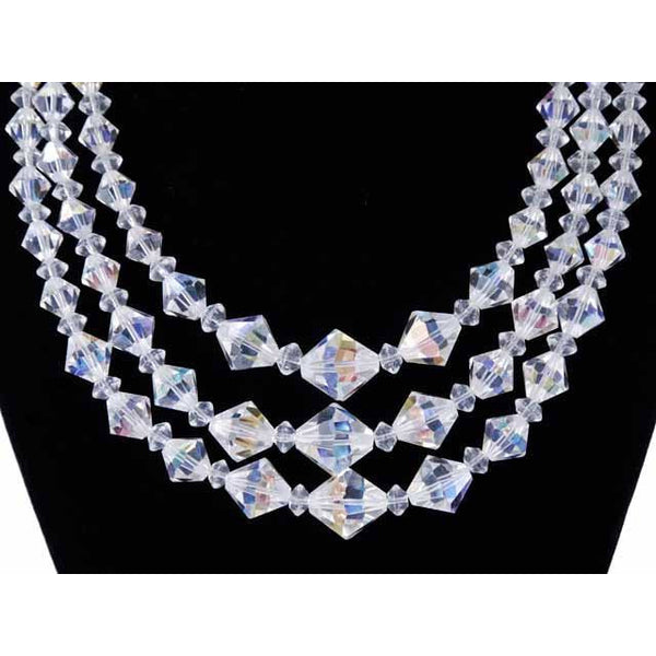 Vintage Aurora Borealis Diamond Cut Crystal Necklace Triple Strand 1950S - The Best Vintage Clothing  - 1